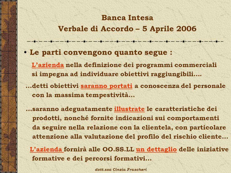 Banca Intesa Verbale di Accordo – 5 Aprile 2006 Le parti convengono quanto segue : …saranno adeguatamente illustrate le caratteristiche dei prodotti,