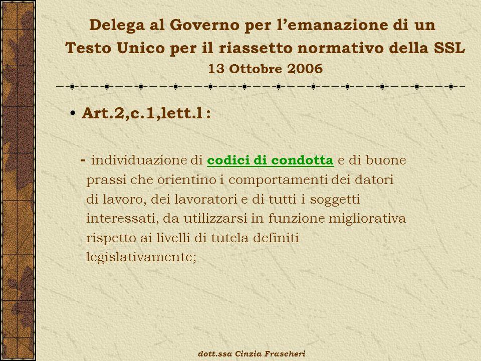 Delega al Governo per lemanazione di un Testo Unico per il riassetto normativo della SSL 13 Ottobre 2006 Art.2,c.1,lett.l : - individuazione di codici