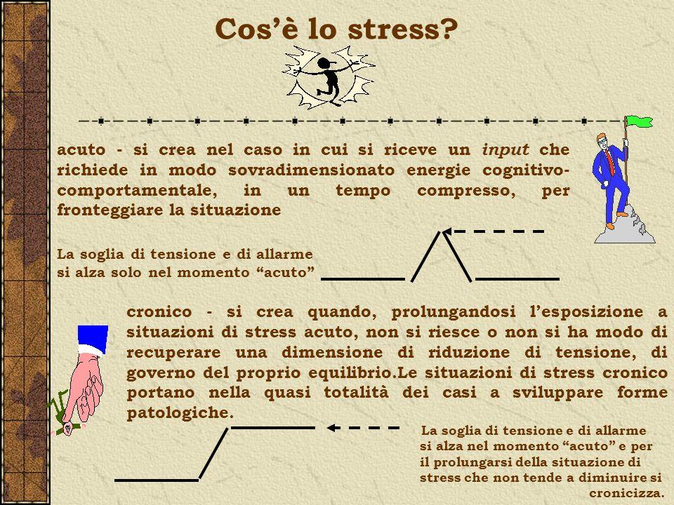 Cosè lo stress? acuto - si crea nel caso in cui si riceve un input che richiede in modo sovradimensionato energie cognitivo- comportamentale, in un te