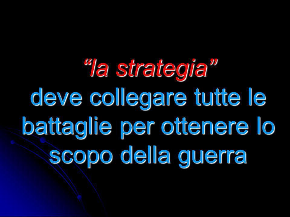 la strategia deve collegare tutte le battaglie per ottenere lo scopo della guerra la strategia deve collegare tutte le battaglie per ottenere lo scopo della guerra