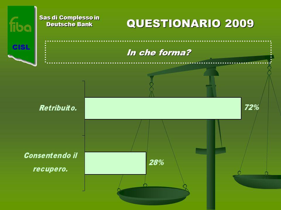 Sas di Complesso in Deutsche Bank QUESTIONARIO 2009 In che forma?