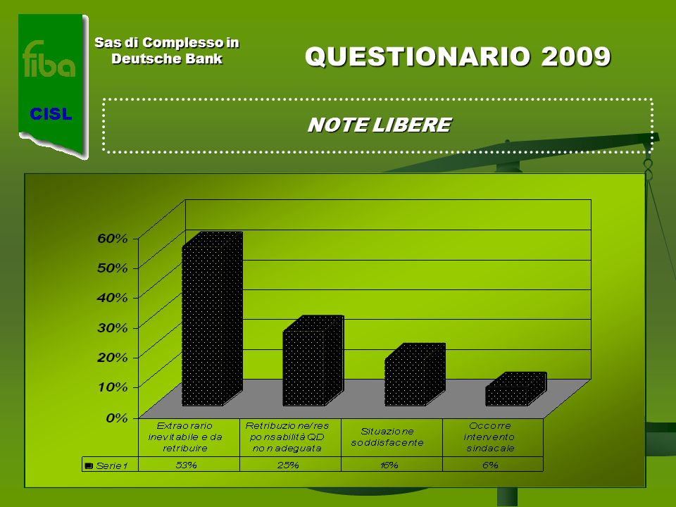 Sas di Complesso in Deutsche Bank QUESTIONARIO 2009 NOTE LIBERE
