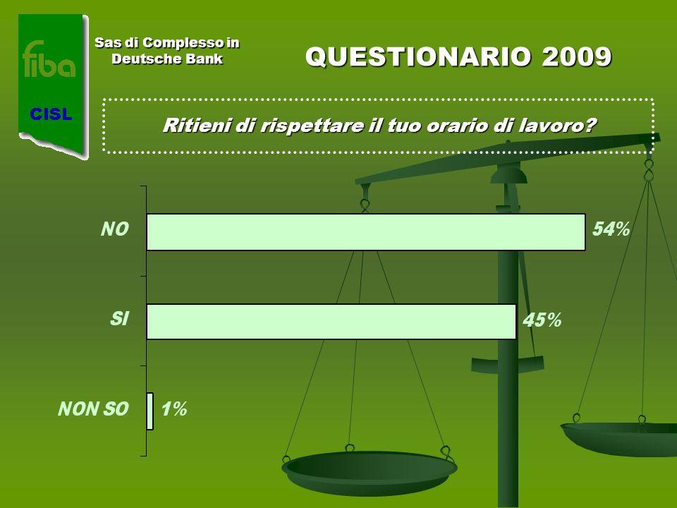 Sas di Complesso in Deutsche Bank QUESTIONARIO 2009 Ritieni di rispettare il tuo orario di lavoro