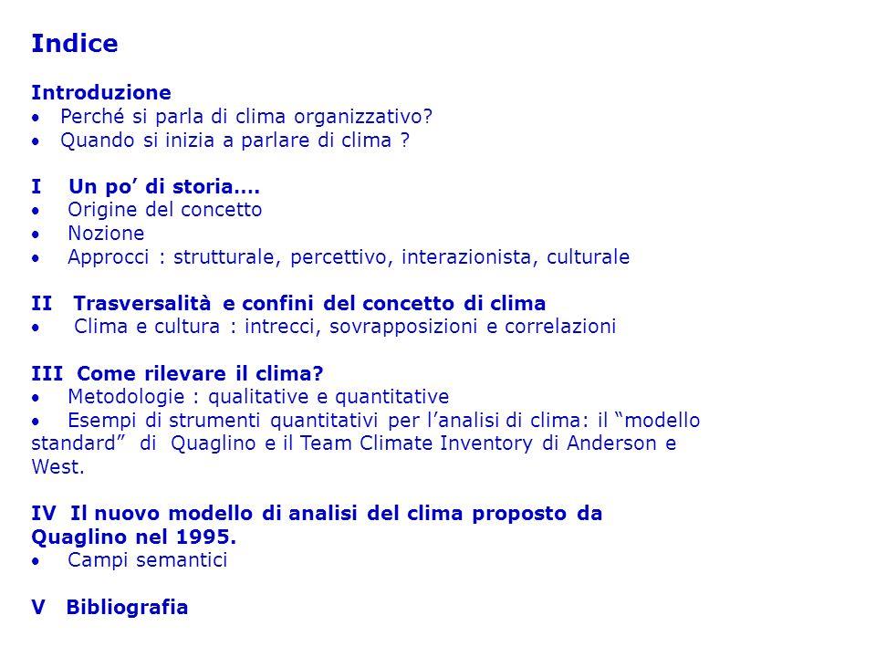 QUESTIONARIO (2) Articolare il concetto di clima in fattori e sottofattori e rilevare per ciascuno di essi la percezione dei soggetti Identificare gruppi omogenei di clima Presentare i risultati sotto forma di tabelle e grafici di facile lettura