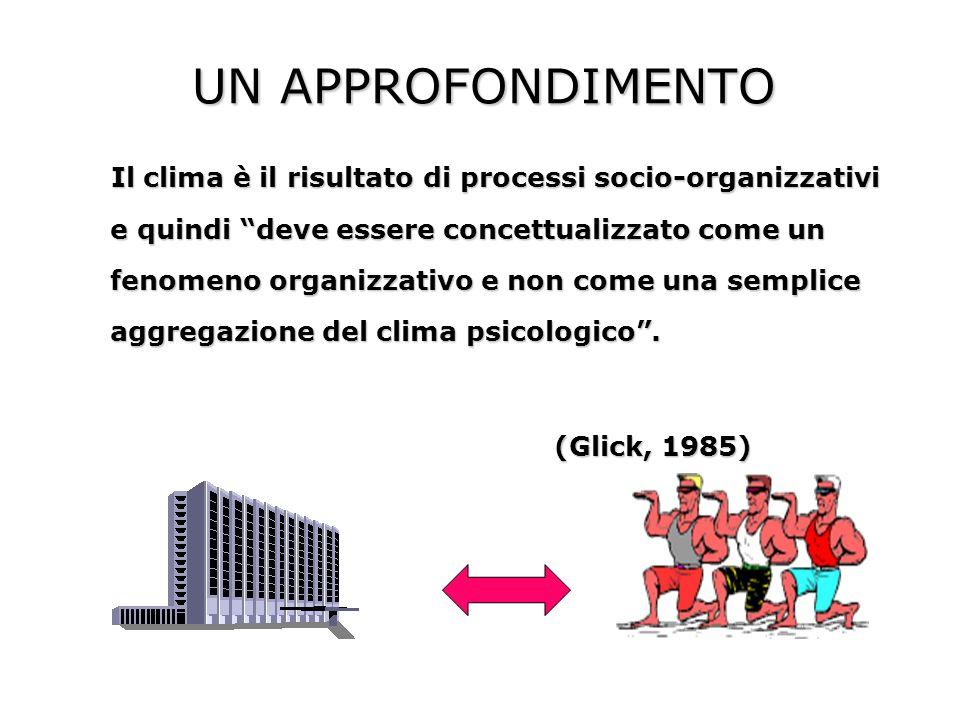 UN APPROFONDIMENTO Il clima è il risultato di processi socio-organizzativi e quindi deve essere concettualizzato come un fenomeno organizzativo e non