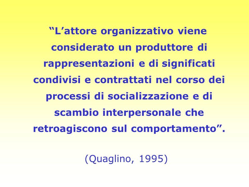 Lattore organizzativo viene considerato un produttore di rappresentazioni e di significati condivisi e contrattati nel corso dei processi di socializz