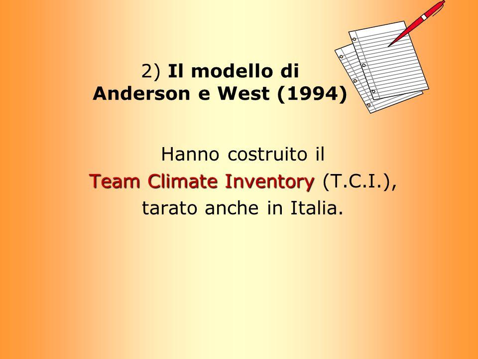 2) Il modello di Anderson e West (1994) Hanno costruito il Team Climate Inventory Team Climate Inventory (T.C.I.), tarato anche in Italia.