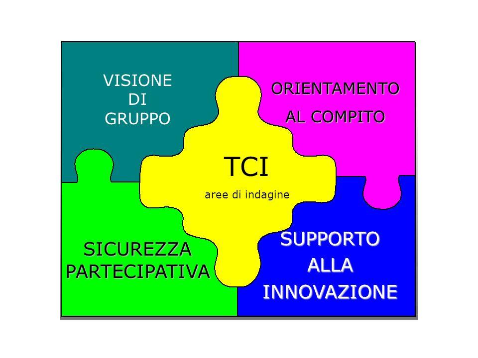 TCI aree di indagine VISIONE DI GRUPPO ORIENTAMENTO AL COMPITO AL COMPITO SICUREZZA PARTECIPATIVA SUPPORTO SUPPORTO ALLA ALLA INNOVAZIONE INNOVAZIONE