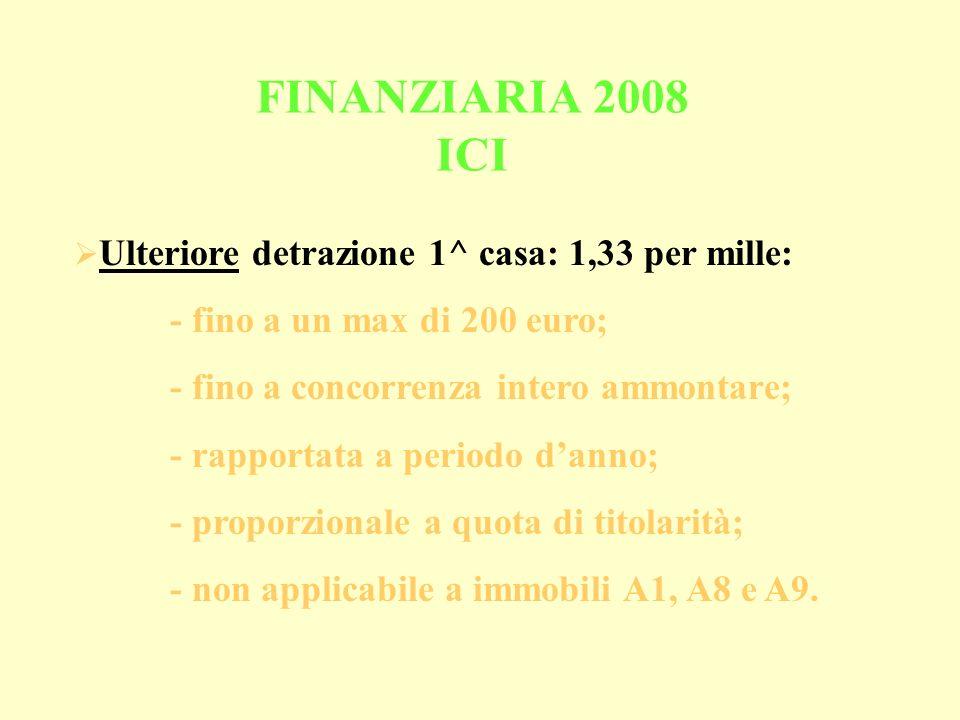 Ulteriore detrazione 1^ casa: 1,33 per mille: - fino a un max di 200 euro; - fino a concorrenza intero ammontare; - rapportata a periodo danno; - proporzionale a quota di titolarità; - non applicabile a immobili A1, A8 e A9.
