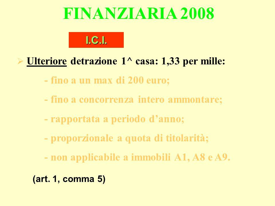 FINANZIARIA 2008 Ulteriore detrazione 1^ casa: 1,33 per mille: - fino a un max di 200 euro; - fino a concorrenza intero ammontare; - rapportata a periodo danno; - proporzionale a quota di titolarità; - non applicabile a immobili A1, A8 e A9.