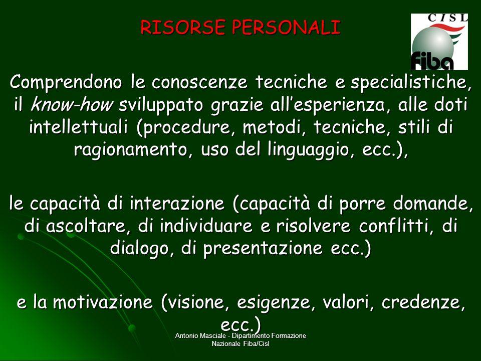 Antonio Masciale - Dipartimento Formazione Nazionale Fiba/Cisl RISORSE ESTERNE Comprendono le risorse tecniche, organizzative, umane, finanziarie disponibili, così come il supporto di persone esterne.
