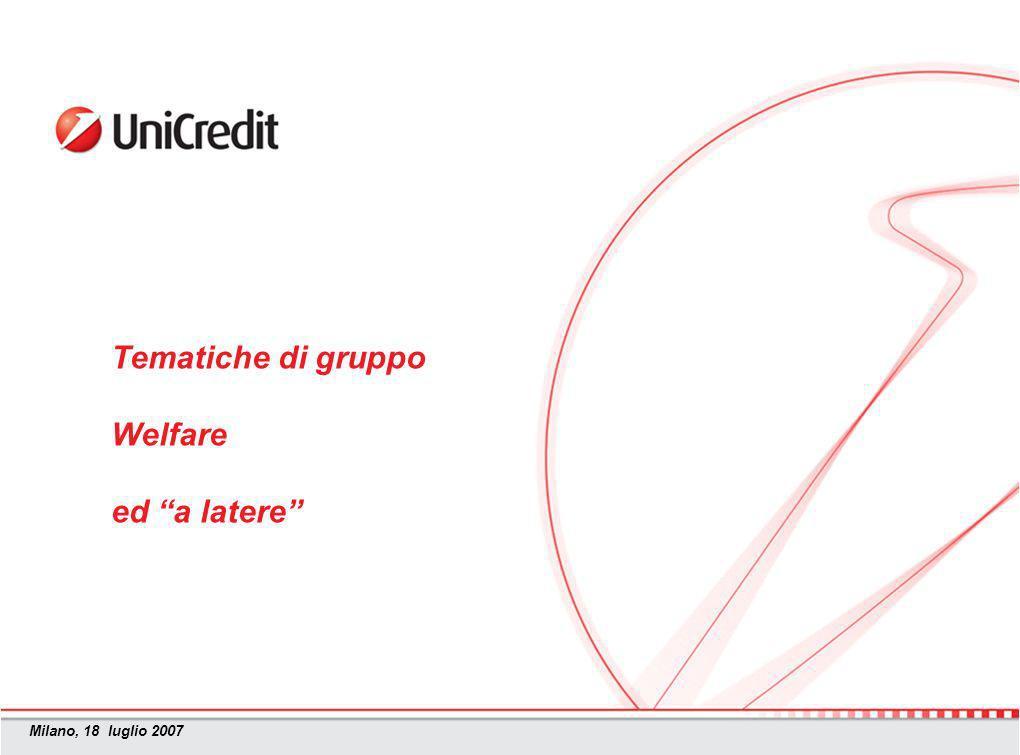 Milano, 18 luglio 2007 Tematiche di gruppo Welfare ed a latere