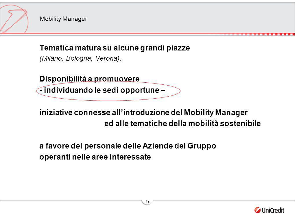 19 Mobility Manager Tematica matura su alcune grandi piazze (Milano, Bologna, Verona). Disponibilità a promuovere - individuando le sedi opportune – i