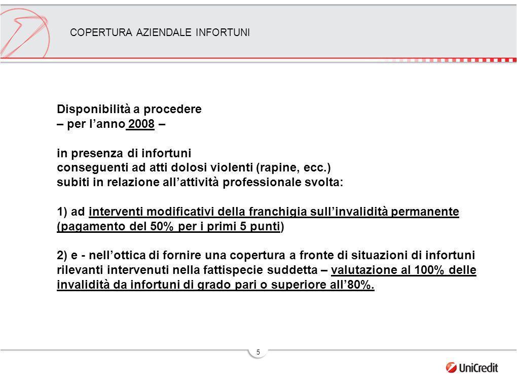 5 COPERTURA AZIENDALE INFORTUNI Disponibilità a procedere – per lanno 2008 – in presenza di infortuni conseguenti ad atti dolosi violenti (rapine, ecc