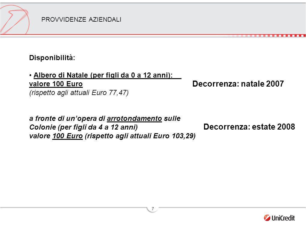 7 PROVVIDENZE AZIENDALI Disponibilità: Albero di Natale (per figli da 0 a 12 anni): valore 100 Euro (rispetto agli attuali Euro 77,47) a fronte di unopera di arrotondamento sulle Colonie (per figli da 4 a 12 anni) valore 100 Euro (rispetto agli attuali Euro 103,29) Decorrenza: natale 2007 Decorrenza: estate 2008