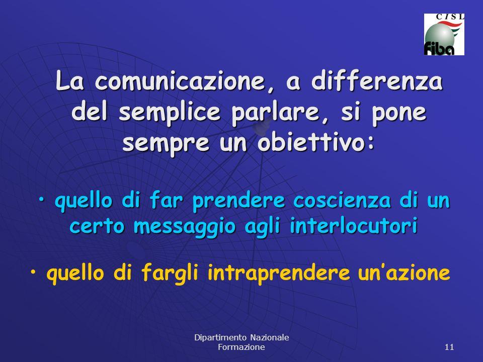 Dipartimento Nazionale Formazione 11 La comunicazione, a differenza del semplice parlare, si pone sempre un obiettivo: quello di far prendere coscienz