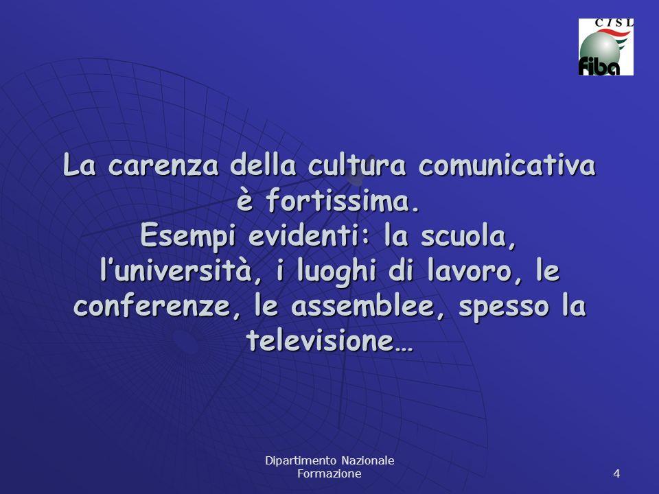 Dipartimento Nazionale Formazione 4 La carenza della cultura comunicativa è fortissima. Esempi evidenti: la scuola, luniversità, i luoghi di lavoro, l