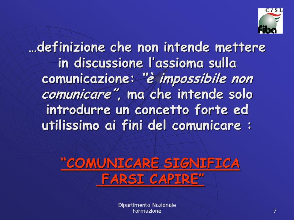 Dipartimento Nazionale Formazione 7 …definizione che non intende mettere in discussione lassioma sulla comunicazione: è impossibile non comunicare, ma