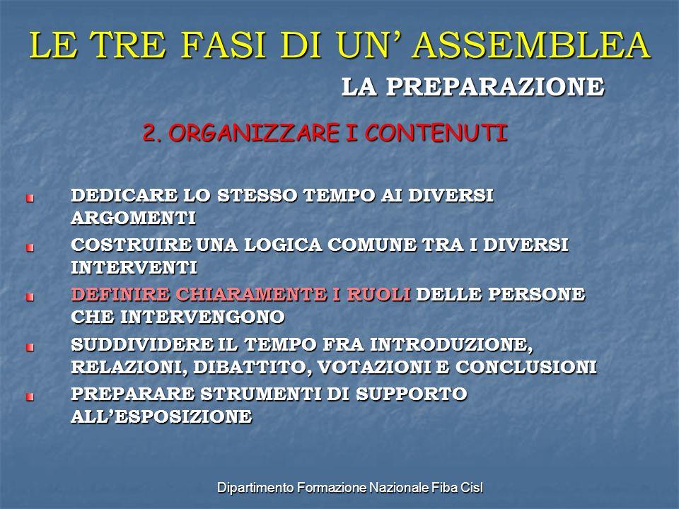 Dipartimento Formazione Nazionale Fiba Cisl LE TRE FASI DI UN ASSEMBLEA 2.