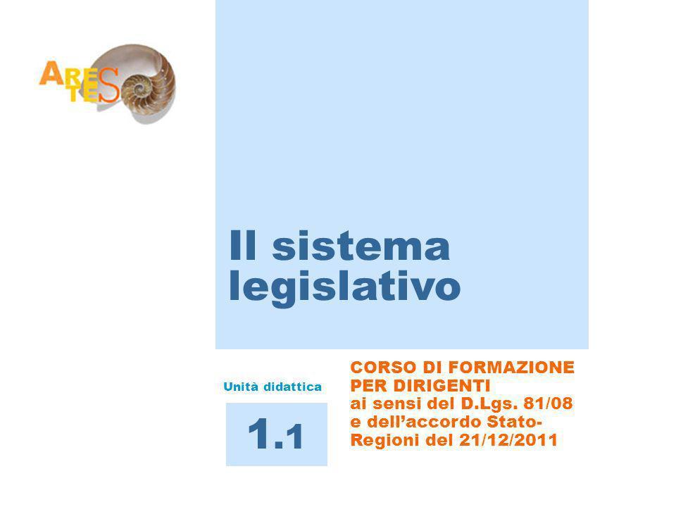 CORSO DI FORMAZIONE PER DIRIGENTI ai sensi del D.Lgs. 81/08 e dellaccordo Stato- Regioni del 21/12/2011 Il sistema legislativo 1.1 Unità didattica