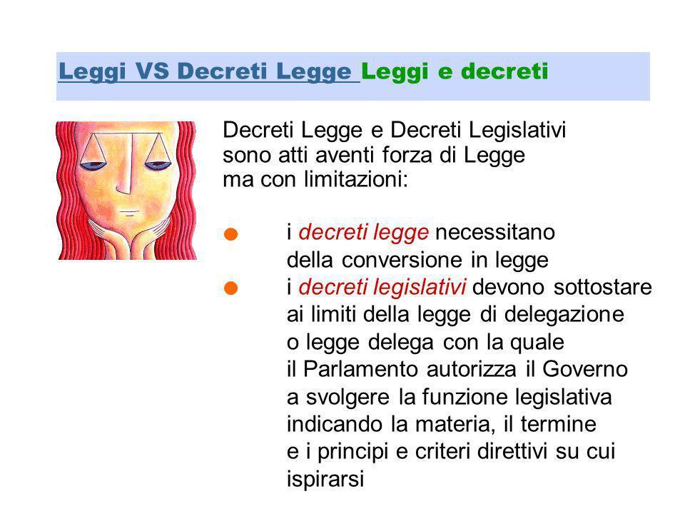 Decreti Legge e Decreti Legislativi sono atti aventi forza di Legge ma con limitazioni: Leggi VS Decreti Legge Leggi e decreti i decreti legge necessi