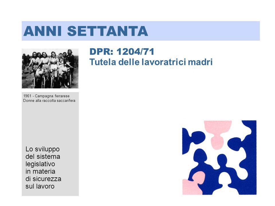 DPR: 1204/71 Tutela delle lavoratrici madri Lo sviluppo del sistema legislativo in materia di sicurezza sul lavoro ANNI SETTANTA 1961 - Campagna ferra