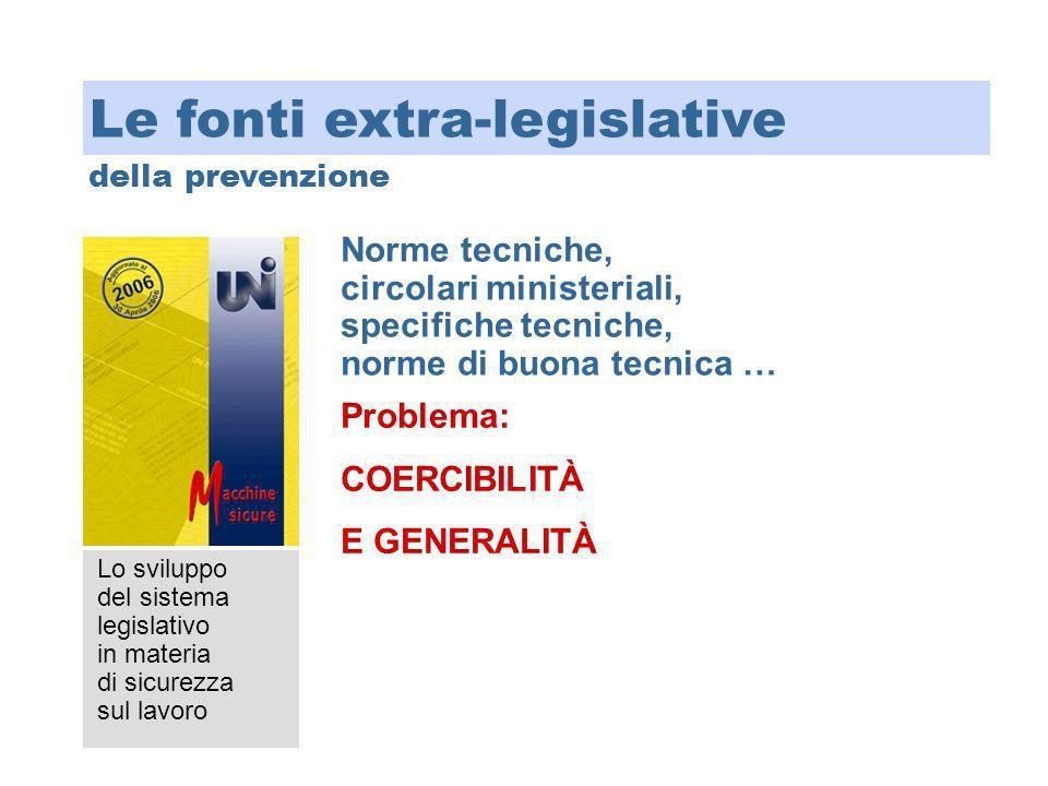 Lo sviluppo del sistema legislativo in materia di sicurezza sul lavoro Norme tecniche, circolari ministeriali, specifiche tecniche, norme di buona tec