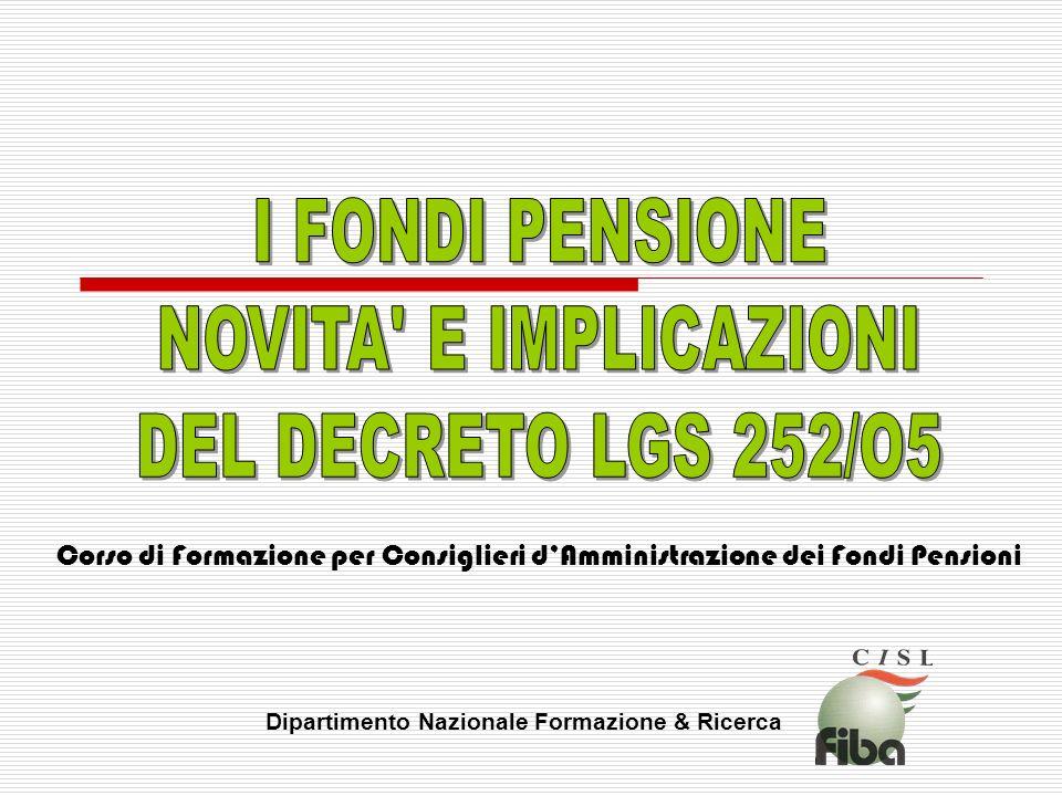Corso di Formazione per Consiglieri dAmministrazione dei Fondi Pensioni Dipartimento Nazionale Formazione & Ricerca