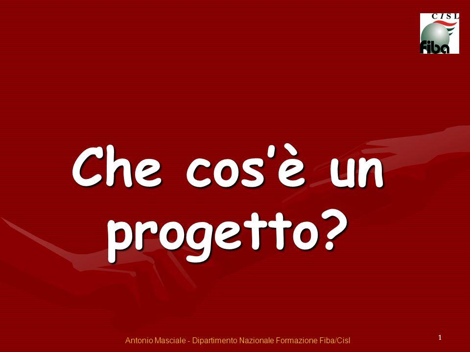 1 Che cosè un progetto? Antonio Masciale - Dipartimento Nazionale Formazione Fiba/Cisl