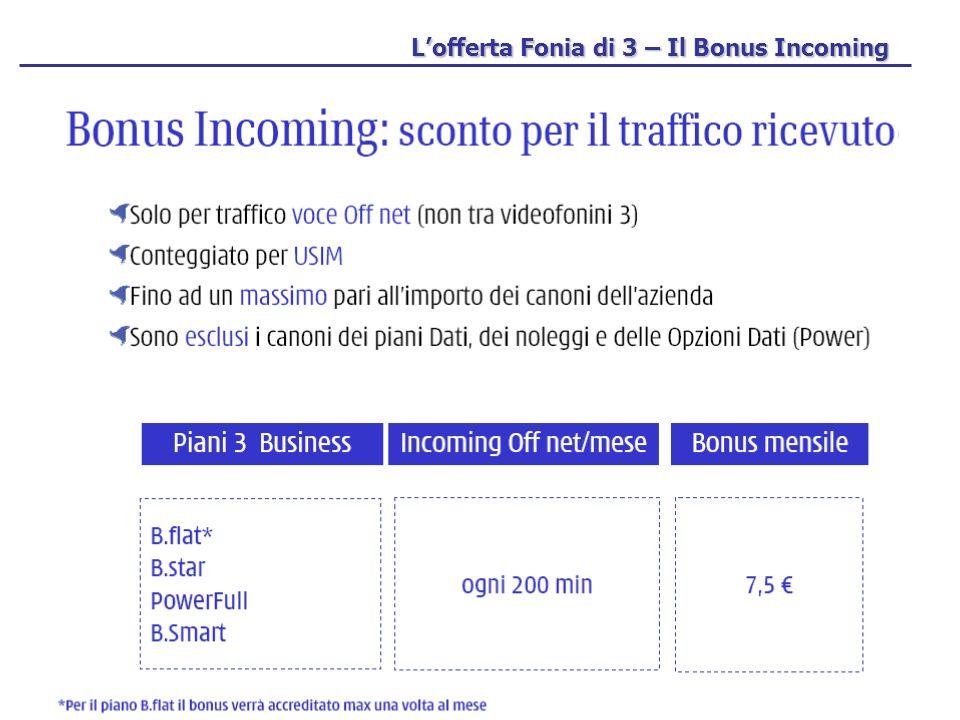 Lofferta Fonia di 3 – Il Bonus Incoming