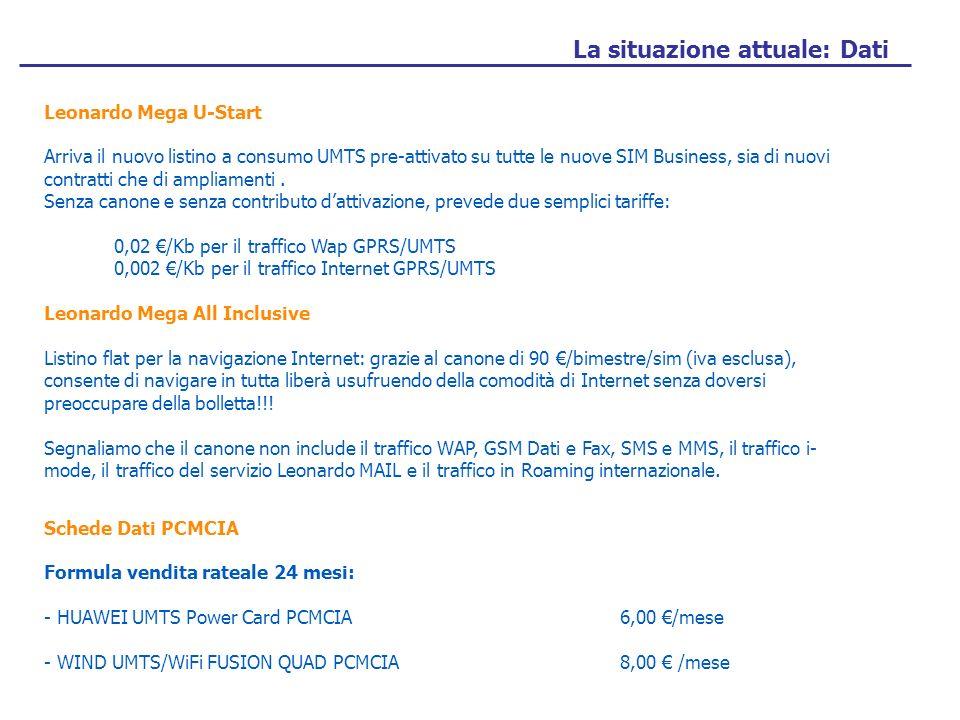 La situazione attuale: Dati Leonardo Mega U-Start Arriva il nuovo listino a consumo UMTS pre-attivato su tutte le nuove SIM Business, sia di nuovi contratti che di ampliamenti.