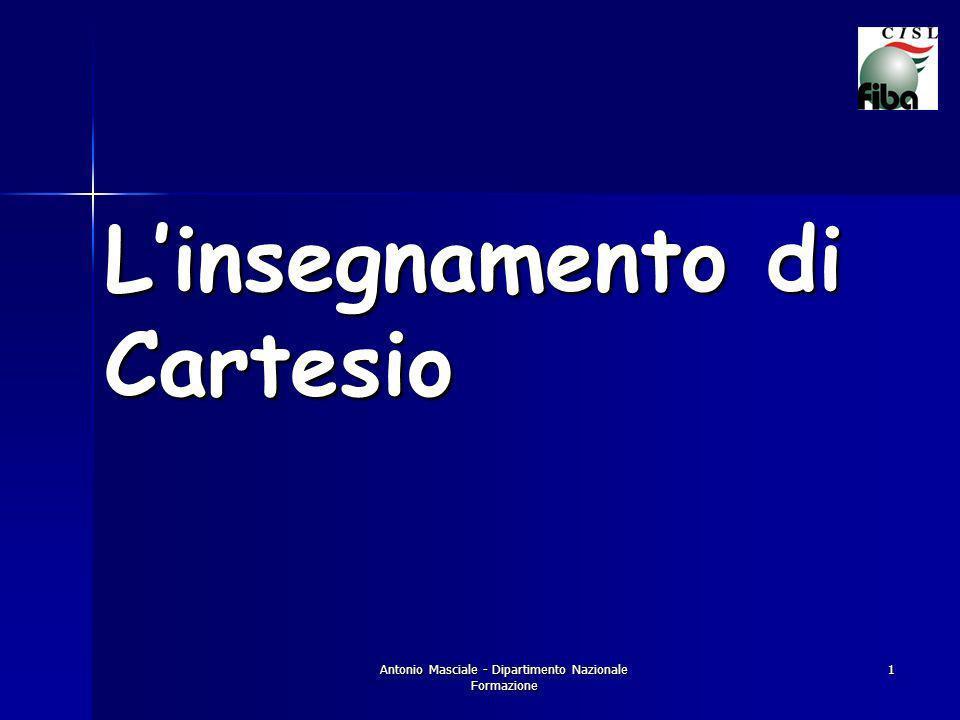Antonio Masciale - Dipartimento Nazionale Formazione 1 Linsegnamento di Cartesio