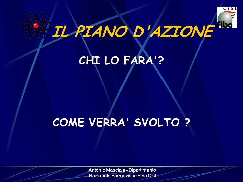 Antonio Masciale - Dipartimento Nazionale Formazione Fiba Cisl IL PIANO D'AZIONE CHI LO FARA'? COME VERRA' SVOLTO ?