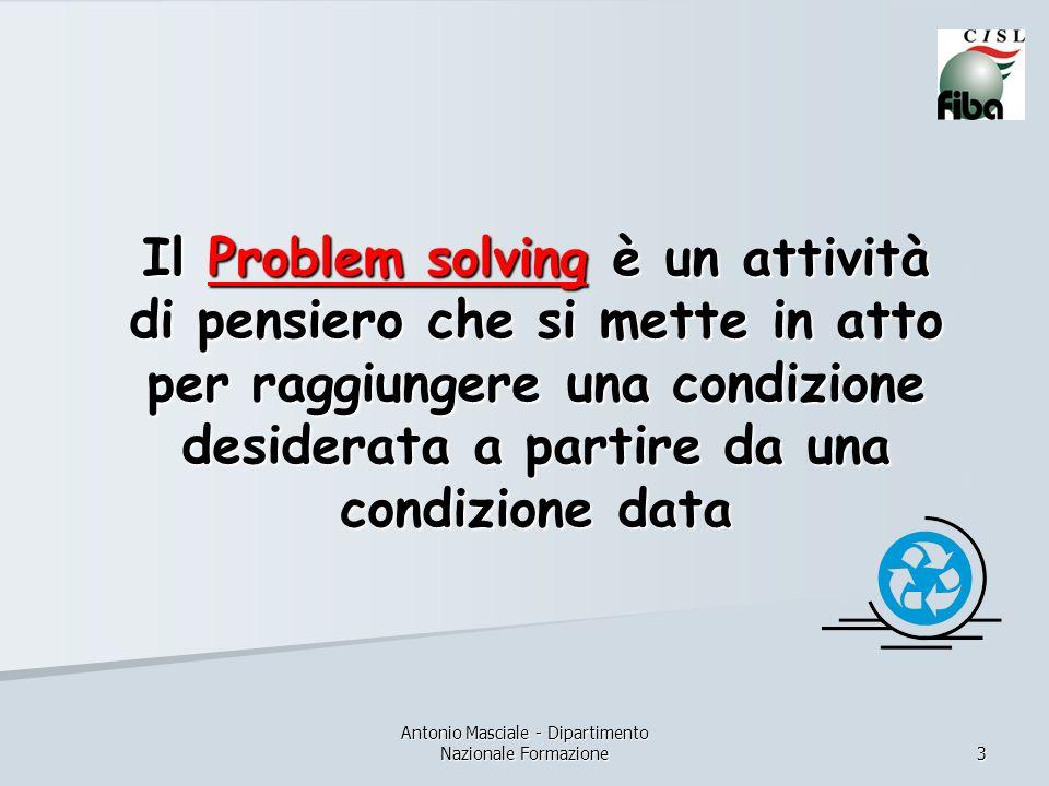 Antonio Masciale - Dipartimento Nazionale Formazione 3 Il Problem solving è un attività di pensiero che si mette in atto per raggiungere una condizione desiderata a partire da una condizione data