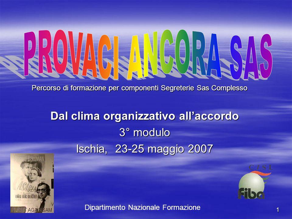 1 Dal clima organizzativo allaccordo 3° modulo Ischia, 23-25 maggio 2007 Percorso di formazione per componenti Segreterie Sas Complesso Dipartimento Nazionale Formazione