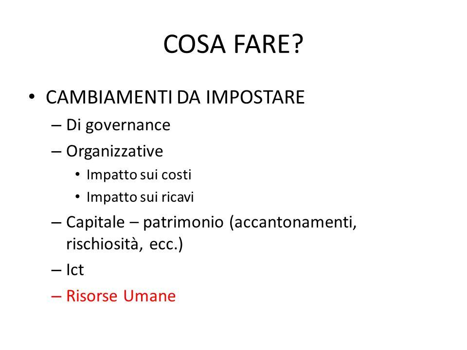 COSA FARE? CAMBIAMENTI DA IMPOSTARE – Di governance – Organizzative Impatto sui costi Impatto sui ricavi – Capitale – patrimonio (accantonamenti, risc