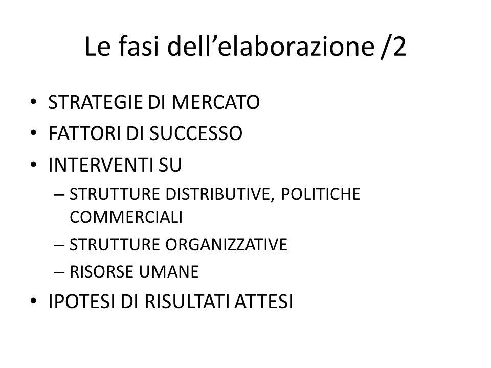 Le fasi dellelaborazione /2 STRATEGIE DI MERCATO FATTORI DI SUCCESSO INTERVENTI SU – STRUTTURE DISTRIBUTIVE, POLITICHE COMMERCIALI – STRUTTURE ORGANIZZATIVE – RISORSE UMANE IPOTESI DI RISULTATI ATTESI