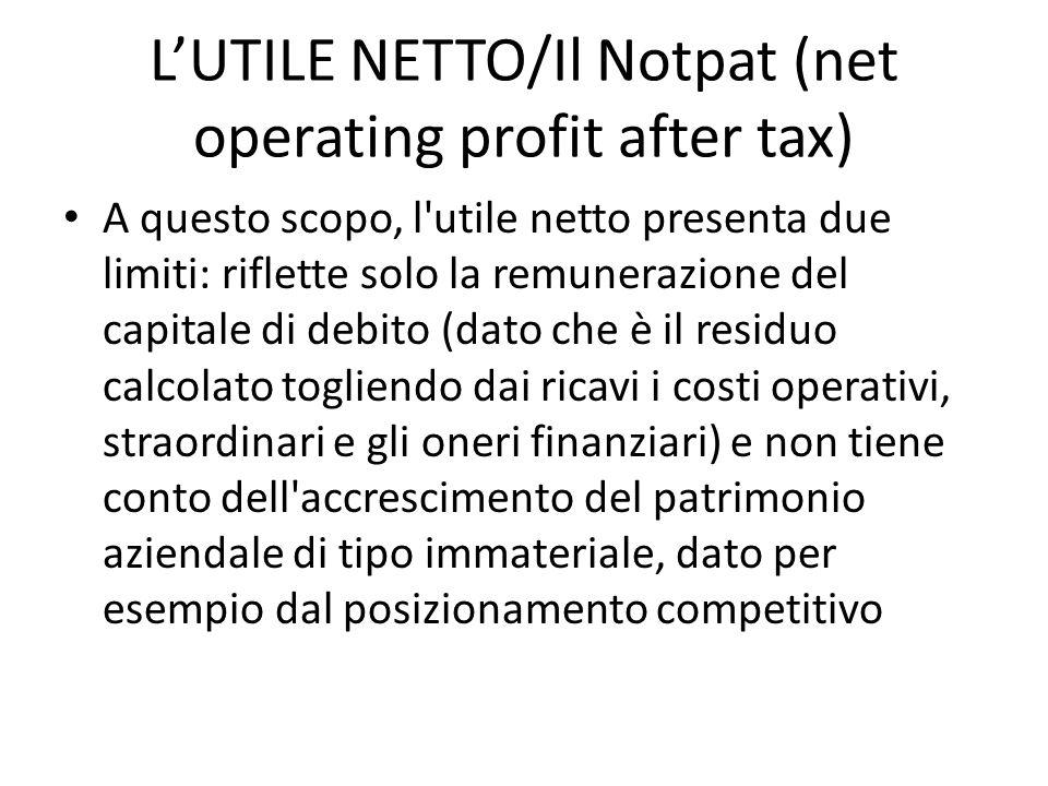 LUTILE NETTO/Il Notpat (net operating profit after tax) A questo scopo, l'utile netto presenta due limiti: riflette solo la remunerazione del capitale