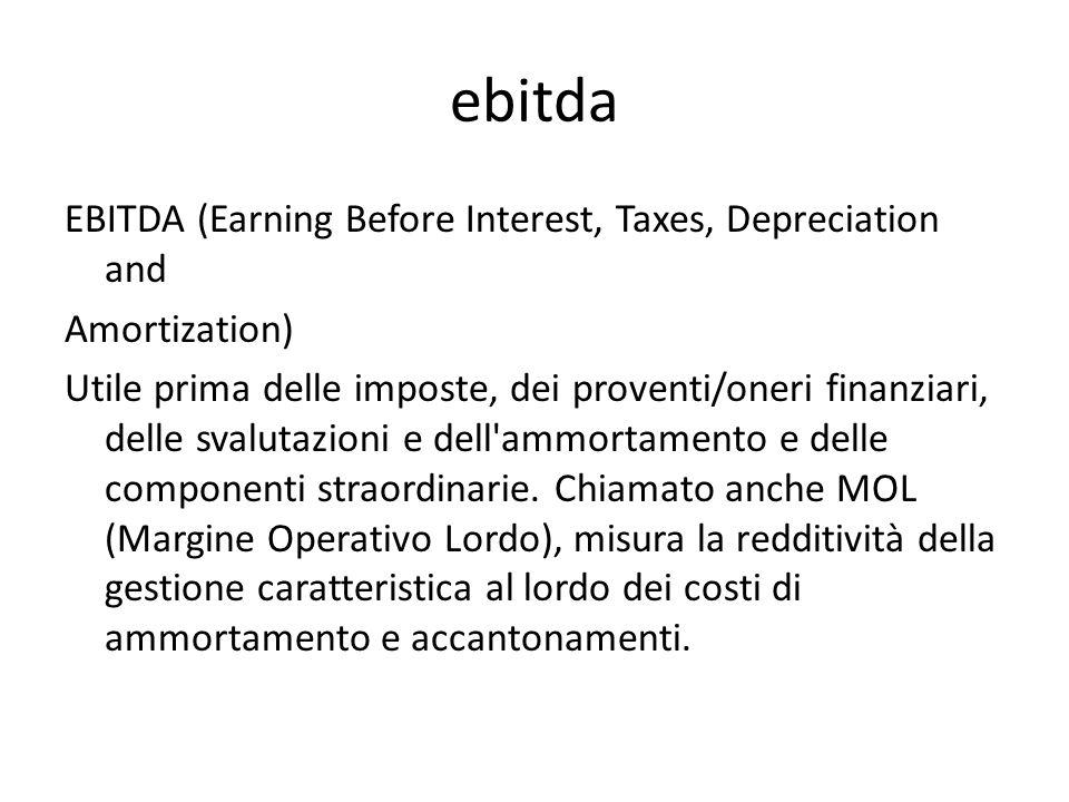 ebitda EBITDA (Earning Before Interest, Taxes, Depreciation and Amortization) Utile prima delle imposte, dei proventi/oneri finanziari, delle svalutazioni e dell ammortamento e delle componenti straordinarie.