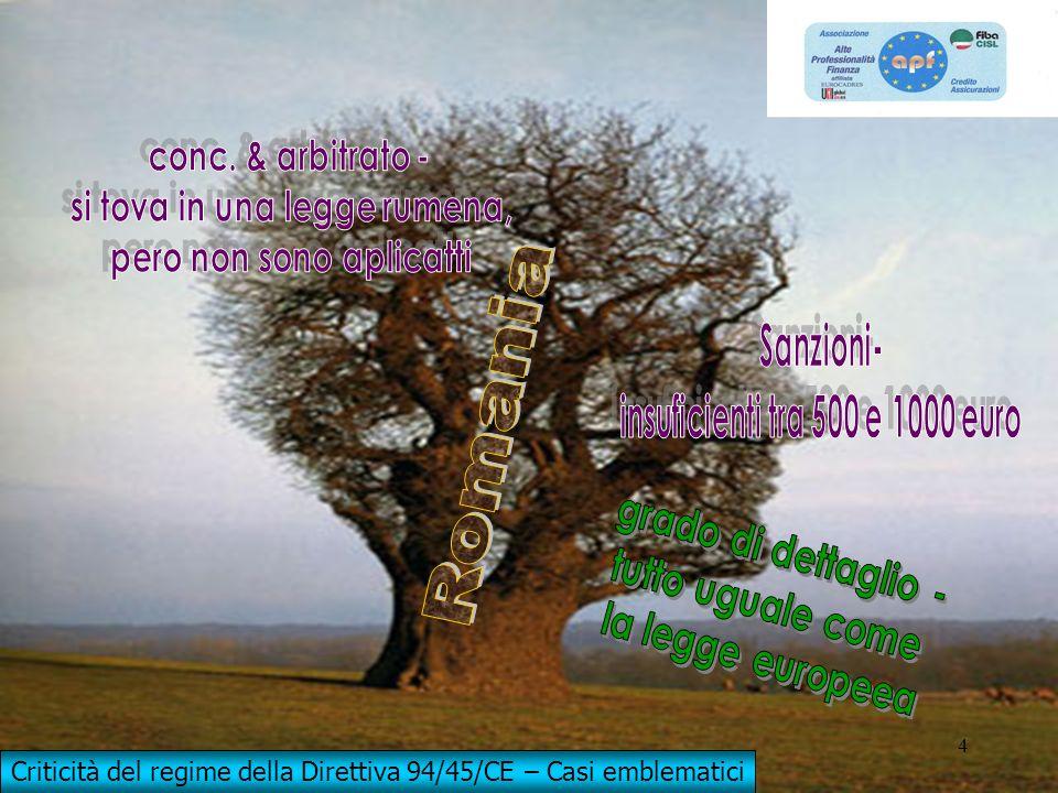 With EU contribution CONCILIATION AND ARBITRATION (VS/2010/06668) 4 4 Criticità del regime della Direttiva 94/45/CE – Casi emblematici