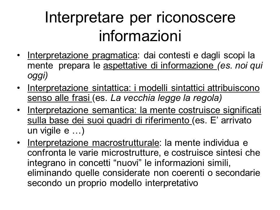 Interpretare per riconoscere informazioni Interpretazione pragmatica: dai contesti e dagli scopi la mente prepara le aspettative di informazione (es.