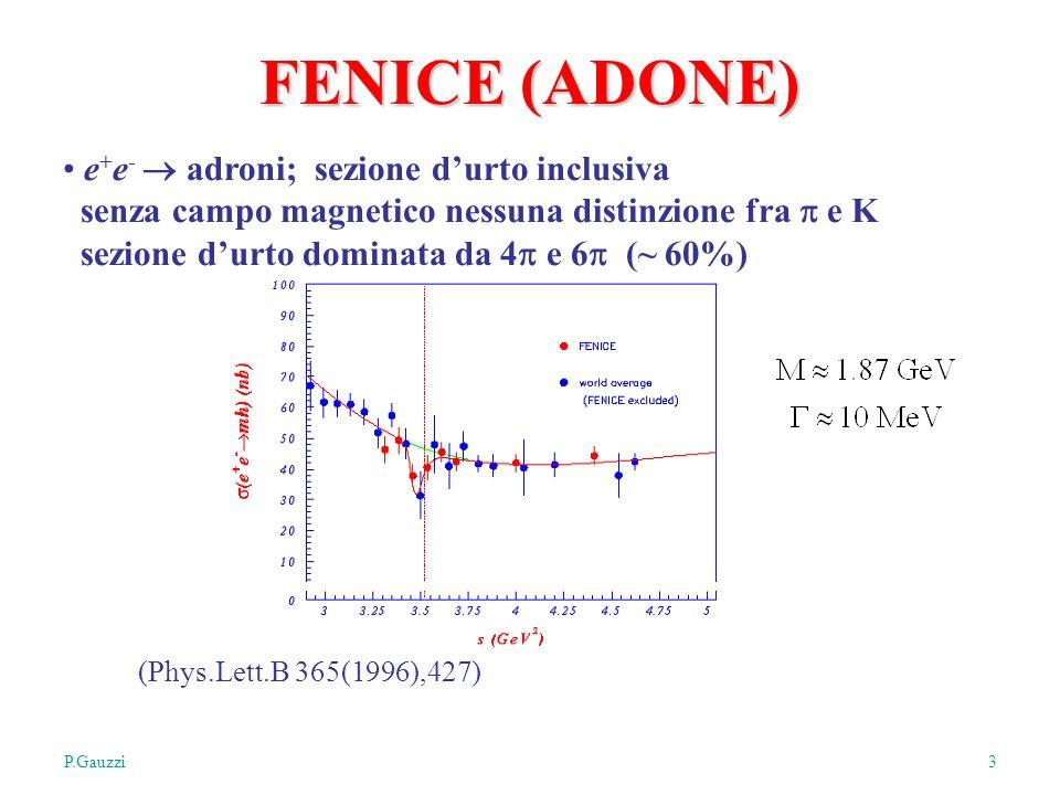 P.GauzziMilano, 4/11/2005 3 FENICE (ADONE) e + e - adroni; sezione durto inclusiva senza campo magnetico nessuna distinzione fra e K sezione durto dominata da 4 e 6 (~ 60%) (Phys.Lett.B 365(1996),427)