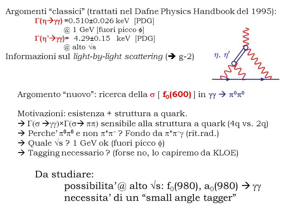 Argomenti classici (trattati nel Dafne Physics Handbook del 1995): ( ) =0.510±0.026 keV [PDG] @ 1 GeV [fuori picco ] ( ) = 4.29±0.15 keV [PDG] @ alto s Informazioni sul light-by-light scattering ( g-2) Argomento nuovo: ricerca della [ f 0 (600) ] in Motivazioni: esistenza + struttura a quark.