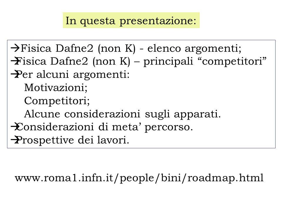 Fisica Dafne2 (non K) - elenco argomenti; Fisica Dafne2 (non K) – principali competitori Per alcuni argomenti: Motivazioni; Competitori; Alcune consid