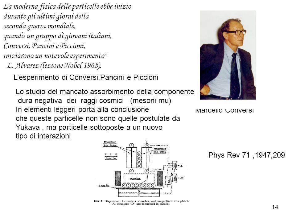 14 Lesperimento di Conversi,Pancini e Piccioni Marcello Conversi Lo studio del mancato assorbimento della componente dura negativa dei raggi cosmici (