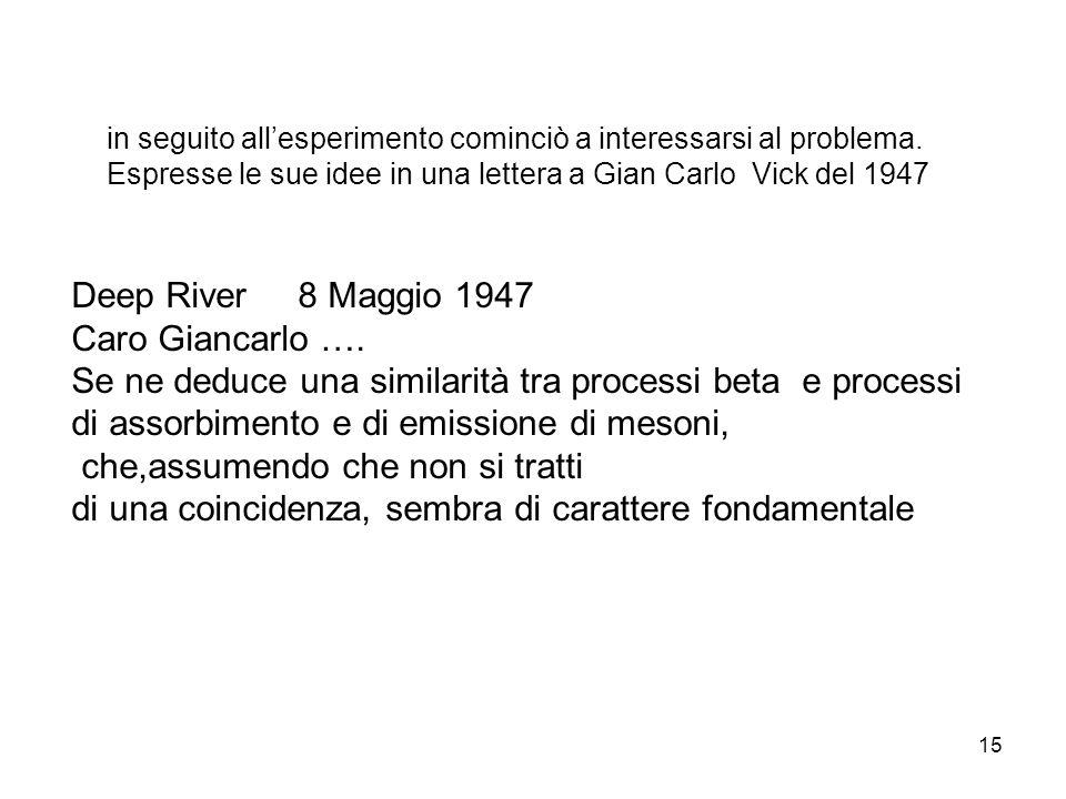 15 in seguito allesperimento cominciò a interessarsi al problema. Espresse le sue idee in una lettera a Gian Carlo Vick del 1947 Deep River 8 Maggio 1