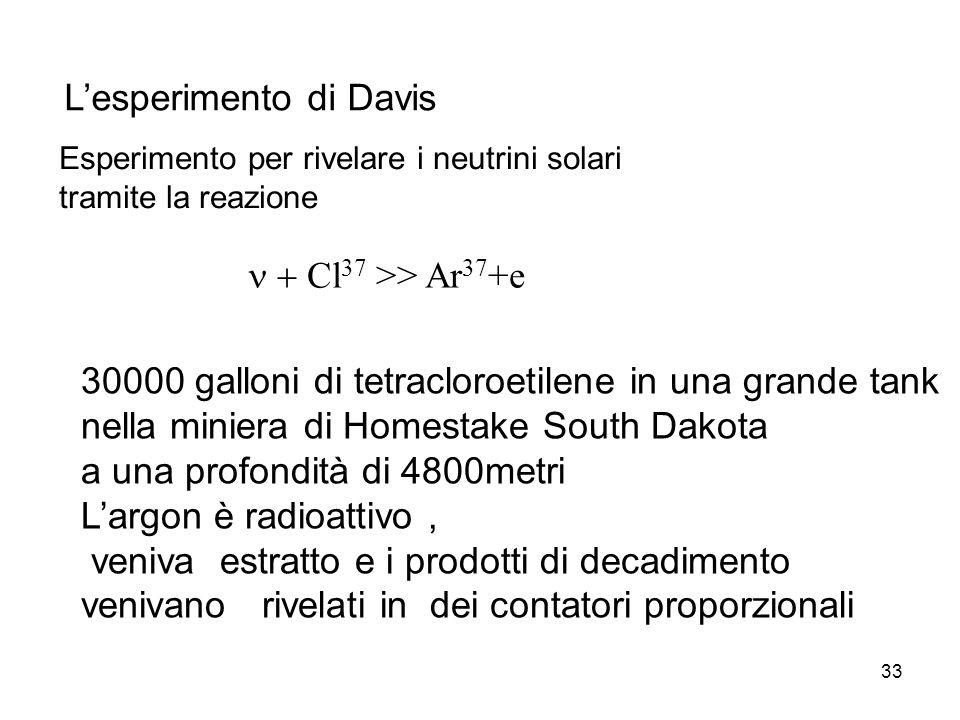 33 Lesperimento di Davis Cl 37 >> Ar 37 +e Esperimento per rivelare i neutrini solari tramite la reazione 30000 galloni di tetracloroetilene in una gr