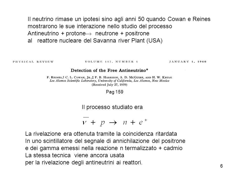 6 Il neutrino rimase un ipotesi sino agli anni 50 quando Cowan e Reines mostrarono le sue interazione nello studio del processo Antineutrino + protone