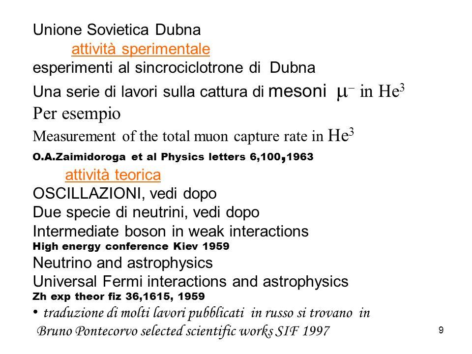 9 Unione Sovietica Dubna attività sperimentale esperimenti al sincrociclotrone di Dubna Una serie di lavori sulla cattura di mesoni in He 3 Per esempi
