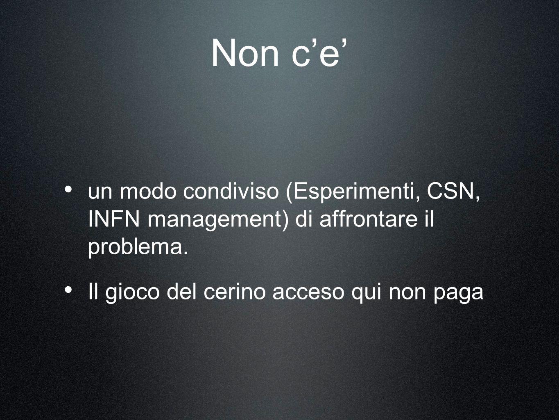 Non ce un modo condiviso (Esperimenti, CSN, INFN management) di affrontare il problema.